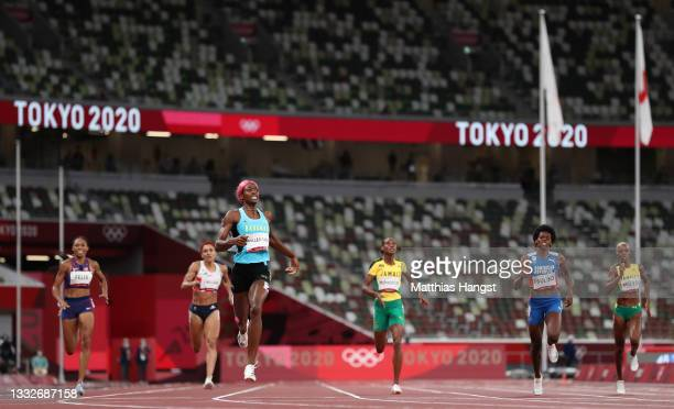 Shaunae Miller-Uibo of Team Bahamas wins the gold medal during the Women's 400 metres final on day fourteen of the Tokyo 2020 Olympic Games at...