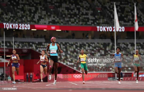 Shaunae Miller-Uibo of Team Bahamas wins the gold medal in the Women's 400m Final on day fourteen of the Tokyo 2020 Olympic Games at Olympic Stadium...