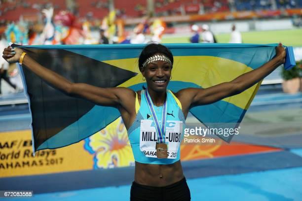 Shaunae MillerUibo of the Bahamas celebrates after the Mixed 4x400 Metres Relay Final during the IAAF/BTC World Relays Bahamas 2017 at Thomas...