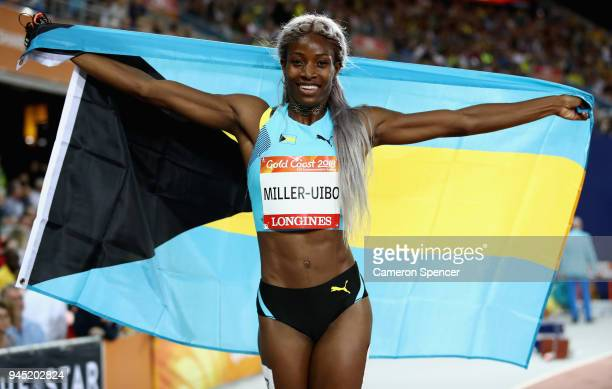 Shaunae Miller-Uibo of the Bahamas celebrates winning gold in the Women's 200 metres final during athletics on day eight of the Gold Coast 2018...