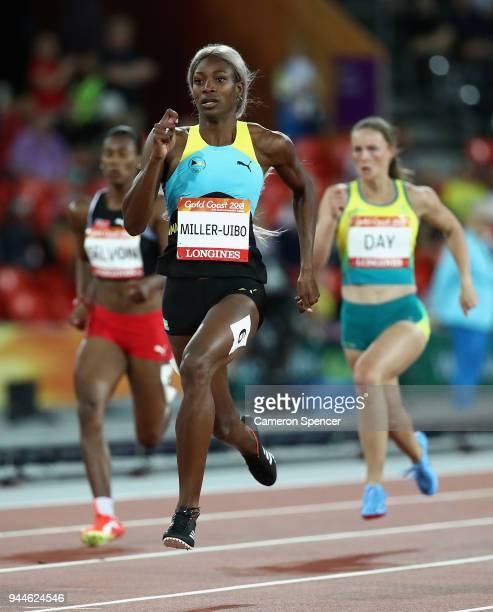Shaunae Miller-Uibo of the Bahamas compete in the Women's 200 metres semi finals during athletics on day seven of the Gold Coast 2018 Commonwealth...