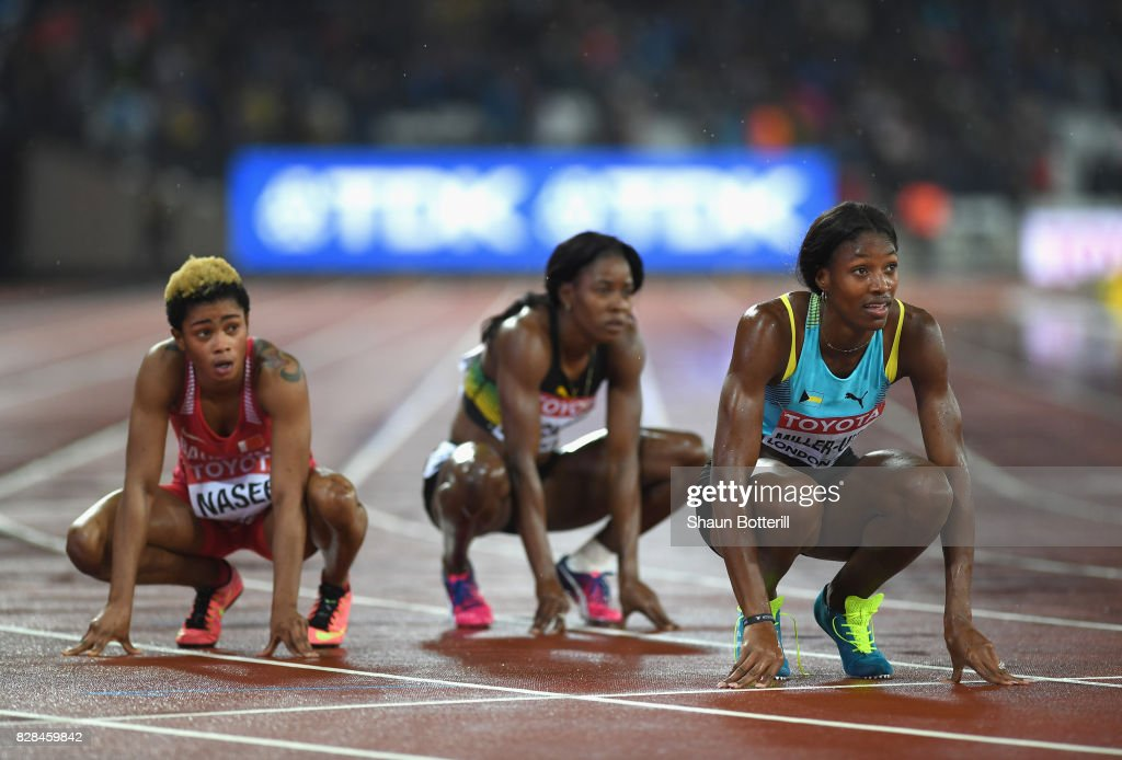 Shaunae Miller-Uibo of the Bahamas reacts after competing in the Women's 400 metres final during day six of the 16th IAAF World Athletics Championships London 2017 at The London Stadium on August 9, 2017 in London, United Kingdom.
