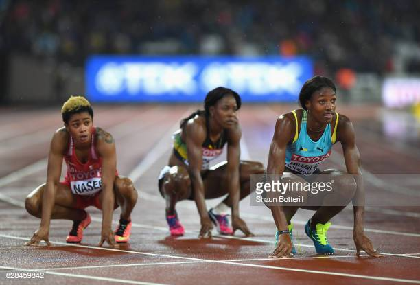 Shaunae Miller-Uibo of the Bahamas reacts after competing in the Women's 400 metres final during day six of the 16th IAAF World Athletics...