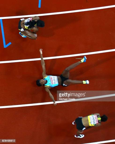 Shaunae MillerUibo of the Bahamas reacts after competing in the Women's 400 metres final during day six of the 16th IAAF World Athletics...