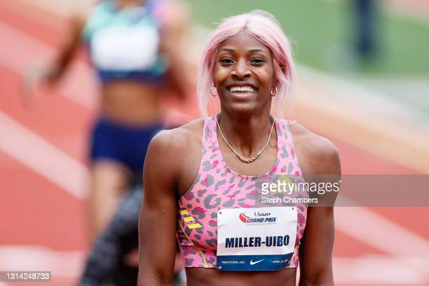 Shaunae Miller-Uibo of the Bahamas reacts after winning the 400 meter final during the USATF Grand Prix at Hayward Field on April 24, 2021 in Eugene,...