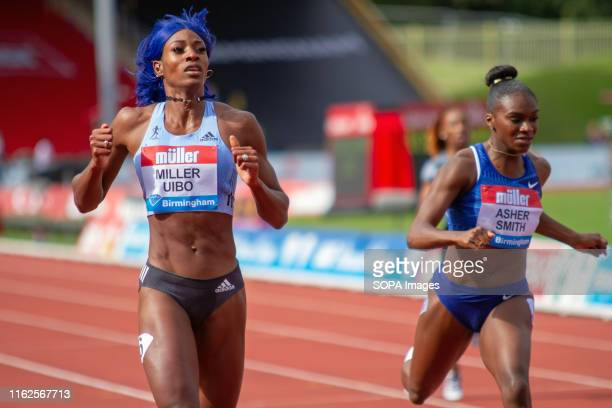 Shaunae Miller-Uibo of The Bahamas wins the women's 200 metres, with Dina Asher-Smith of Great Britain coming second, during the Birmingham 2019...