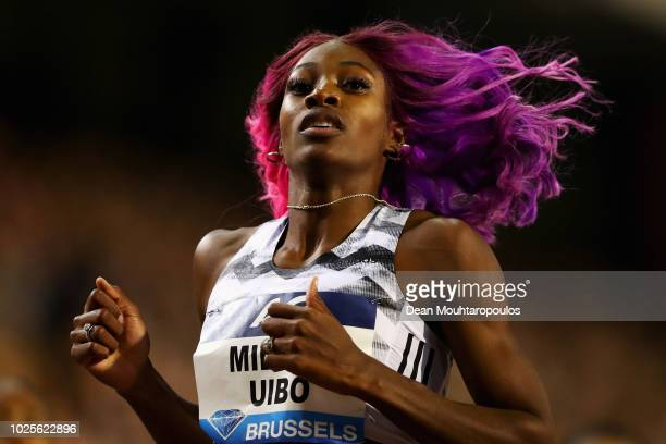 Shaunae Miller-Uibo of the Bahamas wins the Women's 200m race during the IAAF Diamond League AG Memorial Van Damme at King Baudouin Stadium on August...