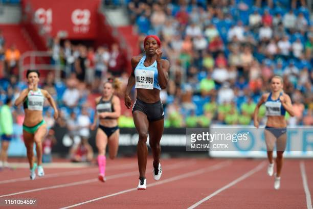 Shaunae MillerUibo of the Bahamas wins the Women's 300m sprint at the IAAF Golden Spike 2019 Athletics meeting in Ostrava on June 20 2019