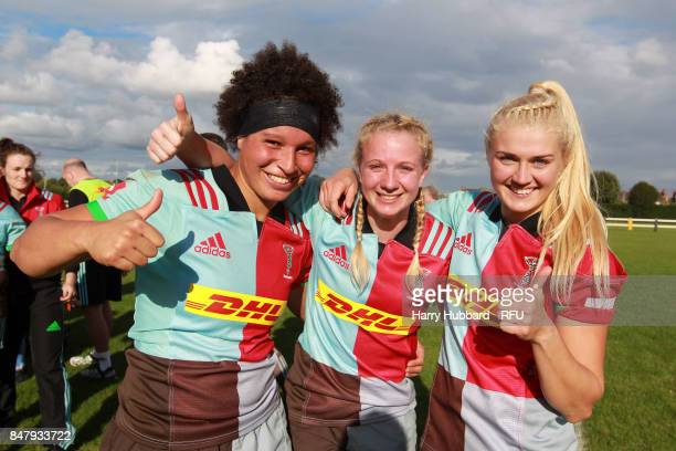 Shaunagh Brown Ashleigh Greenslade and Holly Myers of Harlequins Ladies celebrate after the Tyrrells Premier 15s match between Wasps FC Ladies and...