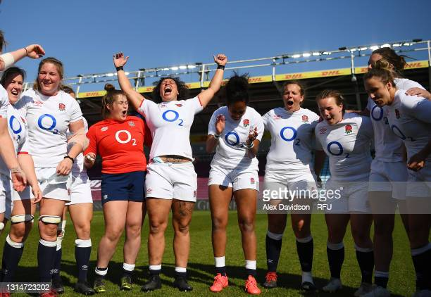 Shaunagh Brown of England celebrates victory with teammates after the Women's Six Nations match between England and France at The Stoop on April 24,...