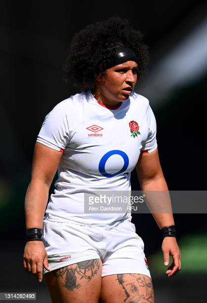 Shaunagh Brown of England looks on during the Women's Six Nations match between England and France at The Stoop on April 24, 2021 in London, England....
