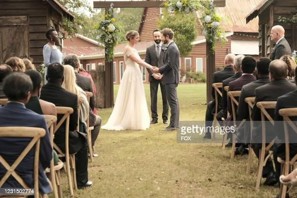 """Shaunette Renée Wilson, Emily VanCamp, guest star Tasso Feldman, Matt Czuchry and guest star Glenn Morshower in the """"A Wedding, A Funeral"""" season..."""
