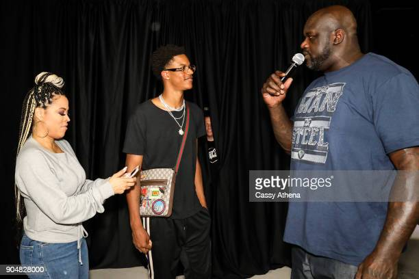 Shaunie O'Neal and Shaquille O'Neal gift a custom car to Shareef O'Neal for his 18th birthday party at West Coast Customs on January 13 2018 in...