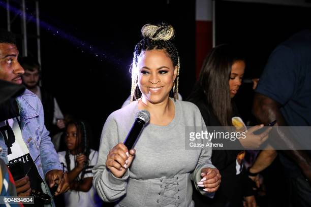 Shaunie O'Neal speaks at Shareef O'Neal's 18th birthday party at West Coast Customs on January 13 2018 in Burbank California