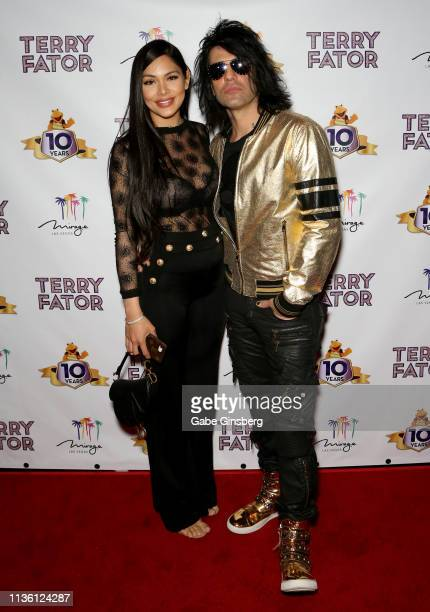 Shaunyl Benson and illusionist Criss Angel attend Terry Fator's 10th anniversary show at The Mirage Hotel Casino on March 15 2019 in Las Vegas Nevada