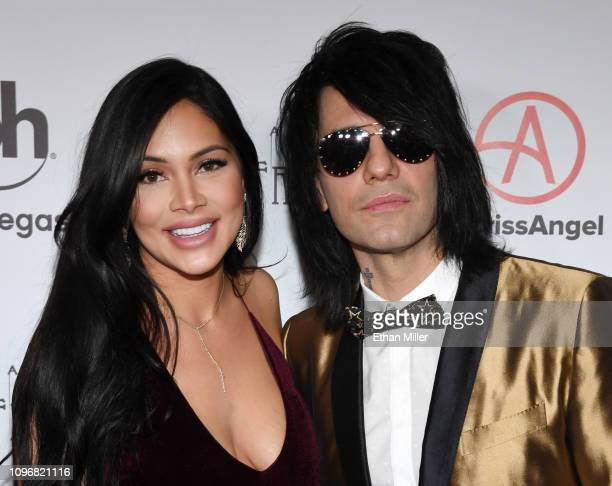 Shaunyl Benson and illusionist Criss Angel attend the grand opening of Criss Angel MINDFREAK at Planet Hollywood Resort Casino on January 19 2019 in...