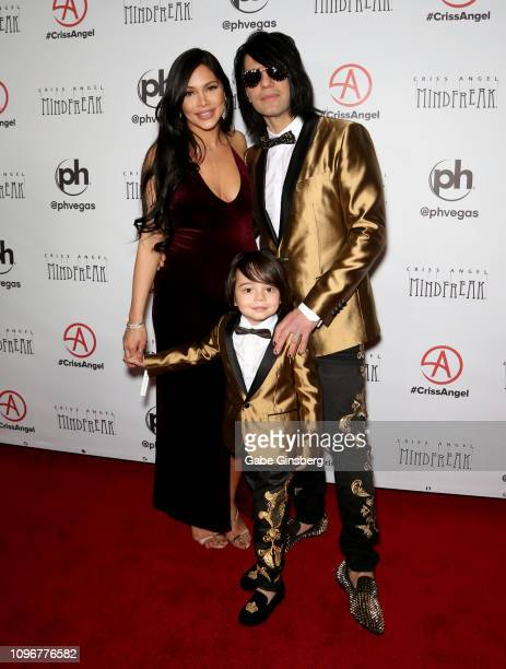Shaunyl Benson illusionist Criss Angel and their son Johnny Crisstopher Sarantakos attend the grand opening of Criss Angel MINDFREAK at Planet...