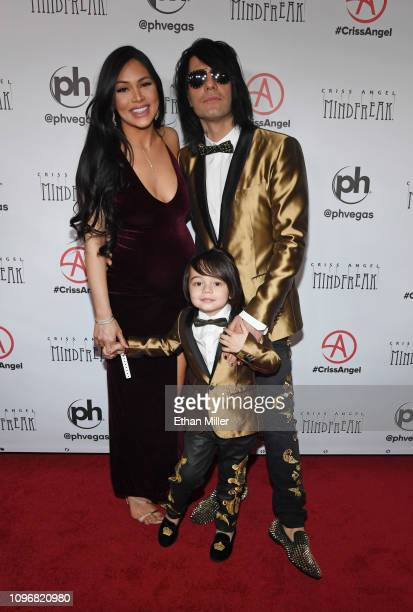 """Shaunyl Benson, Johnny Crisstopher Sarantakos and illusionist Criss Angel attend the grand opening of """"Criss Angel MINDFREAK"""" at Planet Hollywood..."""