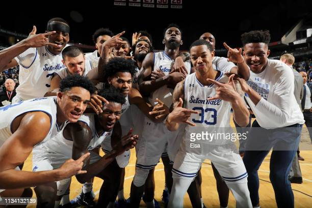 Shavar Reynolds of the Seton Hall Pirates and the rest of his teammates celebrate the win over the Marquette Golden Eagles on March 06, 2019 at...