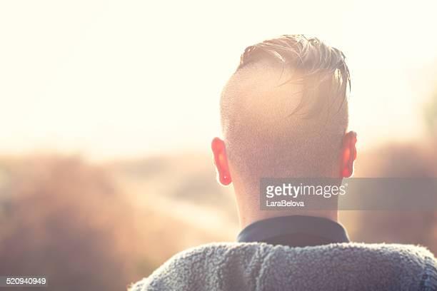 Shaven human head  on nape