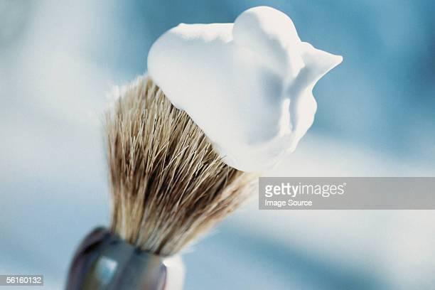 shaving brush and cream - shaving cream stock photos and pictures