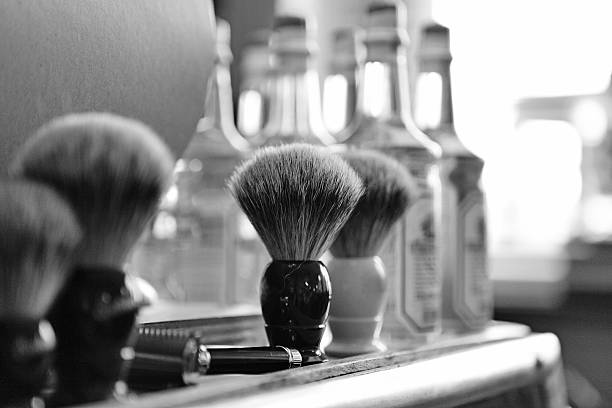 shaving brushes at barbershop