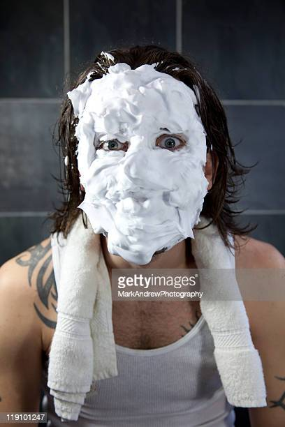 shaving disaster - shaving cream stock photos and pictures