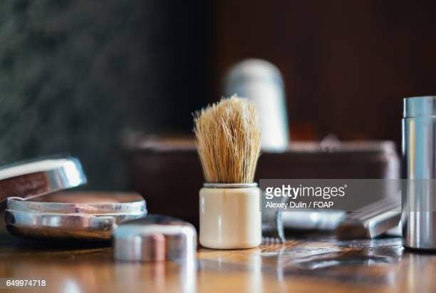 shaving equipments - shaving brush stock photos and pictures