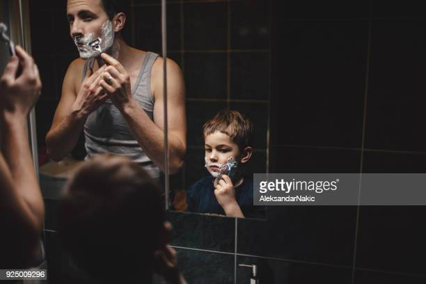 shaving together - shaving stock pictures, royalty-free photos & images