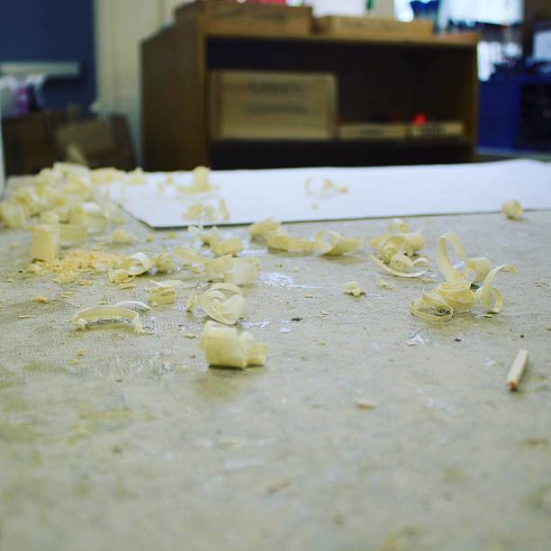 Shavings On Table At Workshop