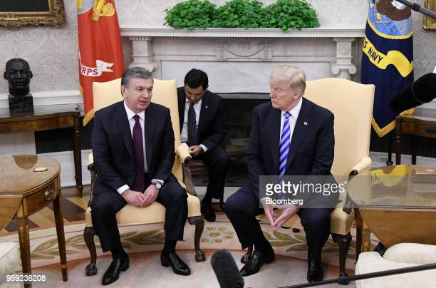 Shavkat Mirziyoev Uzbekistan's president left speaks during as US President Donald Trump listens during a meeting in the Oval Office of the White...