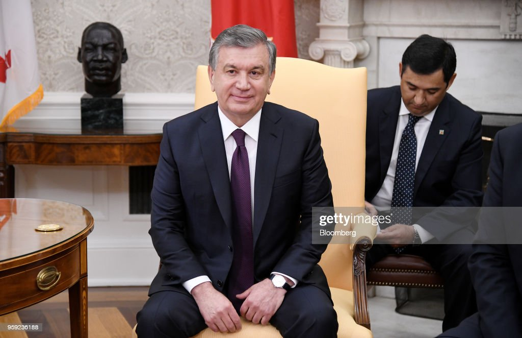 Shavkat Mirziyoev, Uzbekistan's president, listens during a meeting with U.S. President Donald Trump in the Oval Office of the White House in Washington, D.C., U.S., on Wednesday, May 16, 2018. Trump said he is working closely with Mirziyoev while discussing trade and military equipment. Photographer: Olivier Douliery/Pool via Bloomberg