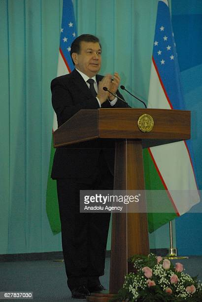 Shavkat Mirziyoyev newlyelected President from Liberal Democrat Party of Uzbekistan addresses to his supporters as the preterm election results are...