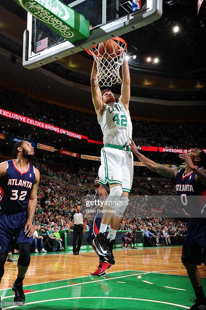 Shavlik Randolph #42 of the Boston Celtics dunks against the Atlanta Hawks on March 29, 2013 at the TD Garden in Boston, Massachusetts.