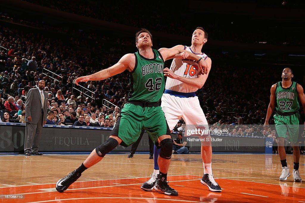 Shavlik Randolph #42 of the Boston Celtics waits for the rebound against Steve Novak #16 of the New York Knicks on March 31, 2013 at Madison Square Garden in New York City.