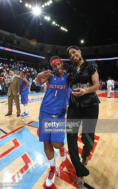 Shavonte Zellous and Plenette Pierson of the Detroit Shock celebrate after Game Two of the WNBA Eastern Conference Semifinals against the Atlanta...