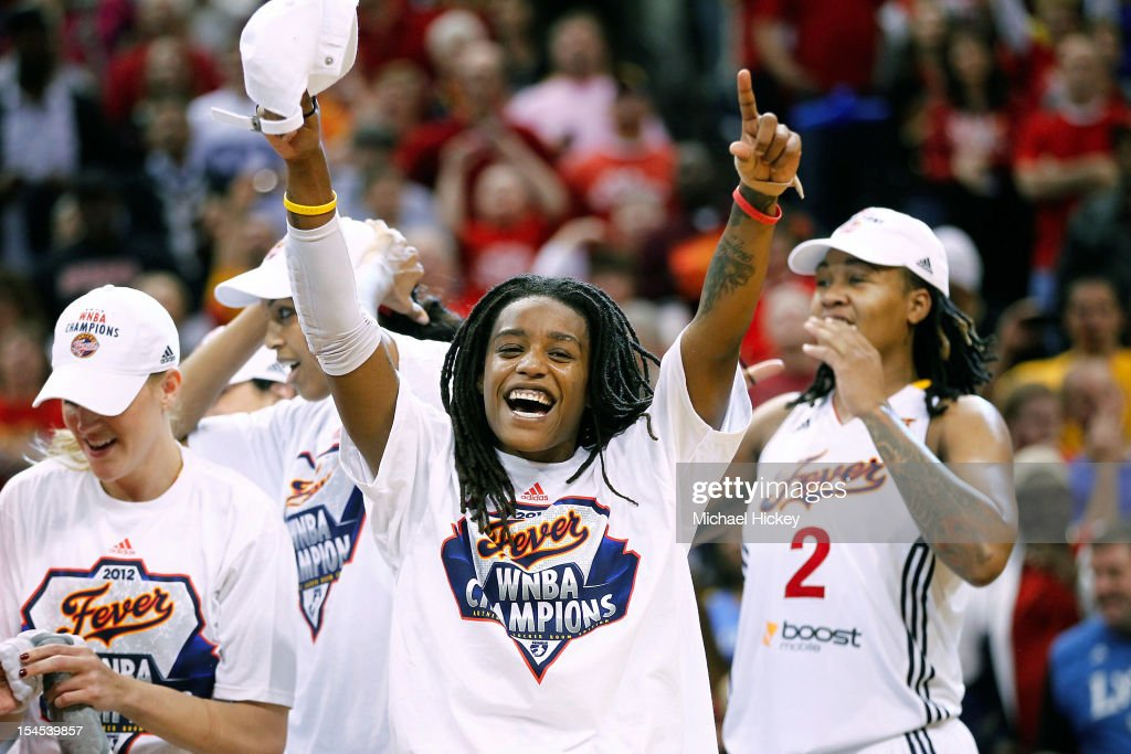 Shavonte Zellous #1 of the Indiana Fever celebrates after defeating Minnesota Lynx in Game Four of the 2012 WNBA Finals on October 21, 2012 at Bankers Life Fieldhouse in Indianapolis, Indiana.