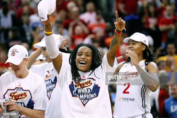 Shavonte Zellous of the Indiana Fever celebrates after defeating Minnesota Lynx in Game Four of the 2012 WNBA Finals on October 21 2012 at Bankers...