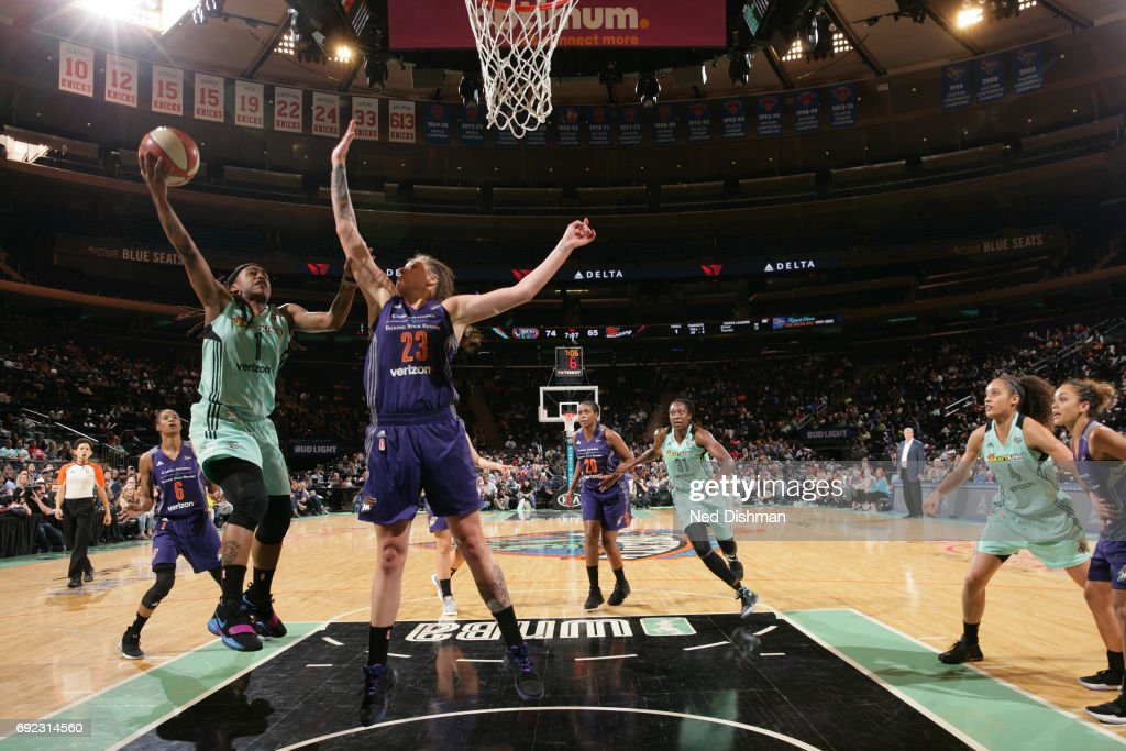 Shavonte Zellous #1 of the New York Liberty drives to the basket against the Phoenix Mercury on June 4, 2017 at Madison Square Garden in New York, New York.