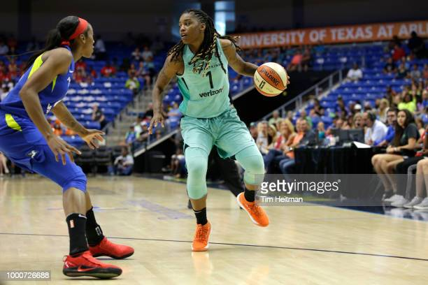 Allisha Gray of the Dallas Wings handles the ball against the New York Liberty on July 17 2018 at College Park Center in Arlington Texas NOTE TO USER...