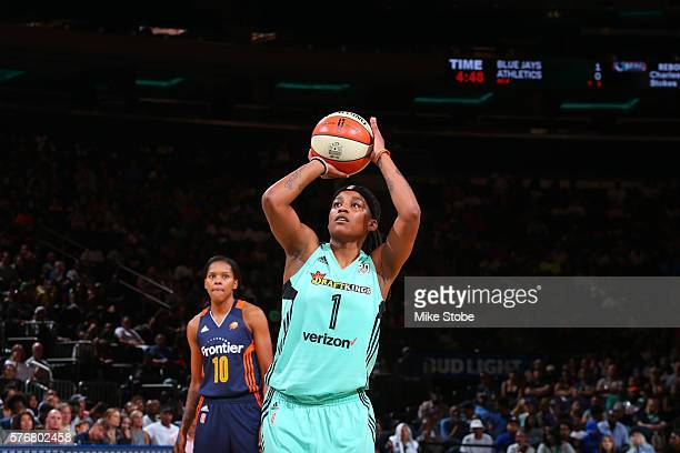 Shavonte Zellous of the New York Liberty shoots a free throw against the Connecticut Sun on July 17 2016 at Madison Square Garden in New York City...