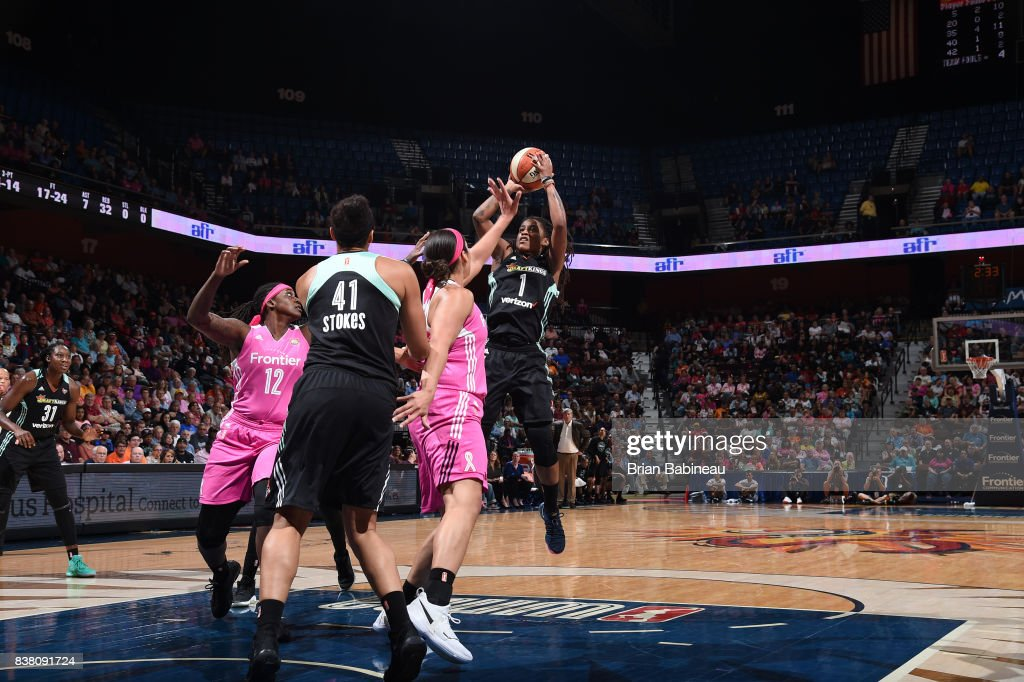 Shavonte Zellous #1 of the New York Liberty shoots the ball during the game against the Connecticut Sun on August 18, 2017 at the Mohegan Sun Arena in Uncasville, Connecticut.