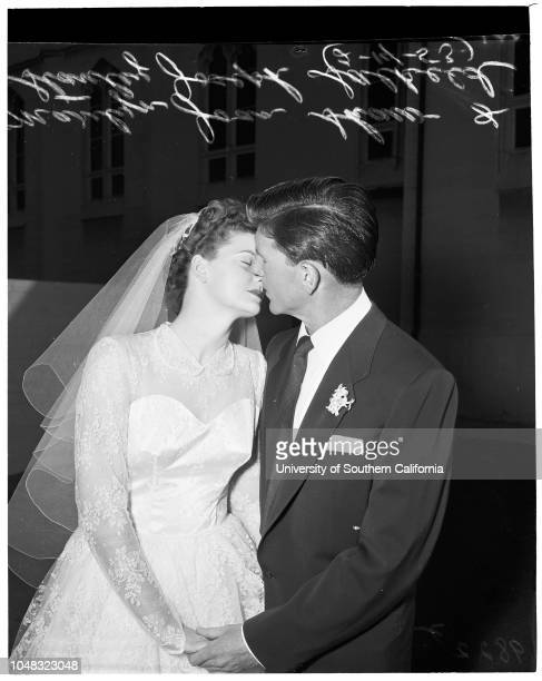 Shaw girls married 14 February 1953 Marilyn Joan ShawStanley Joseph Salkeld newlywedsMarilyn Joan Shawl Charles John O'Connor Caption slip reads...