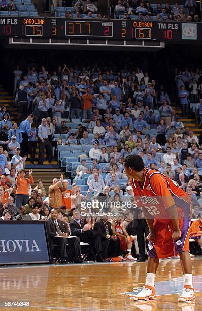 Shawan Robinson of the Clemson Tigers looks at the scoreboard during the final seconds of his team's loss to the North Carolina Tar Heels on February...
