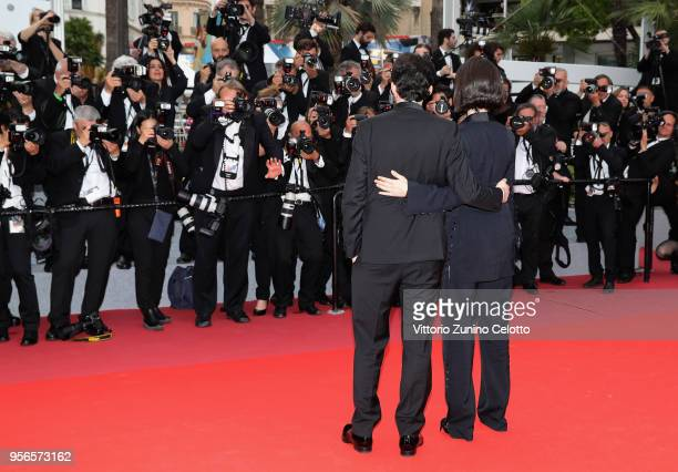 B Shawky and wife producer Dina Emam attends the screening of 'Yomeddine' during the 71st annual Cannes Film Festival at Palais des Festivals on May...