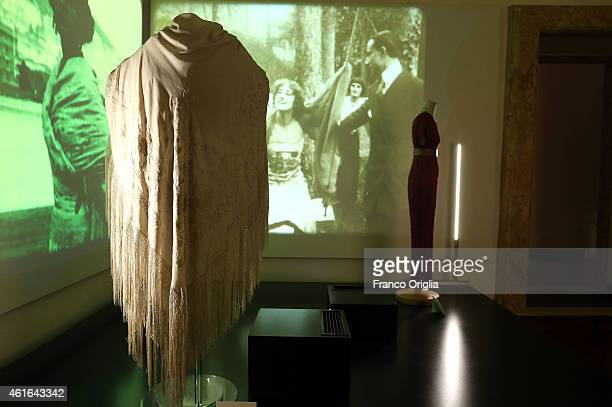 A shawl worn by Francesca Bertina in the movie 'Assunta Spina' is shown during the 'I Vestiti Dei Sogni' Exhibition Opening at Palazzo Braschi on...
