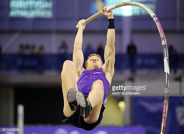 Shawn Barber of Canada competes in the Men's Pole Vault at the Glasgow Indoor Grand Prix at the Emirates Arena in Glasgow on February 20 2016 / AFP /...