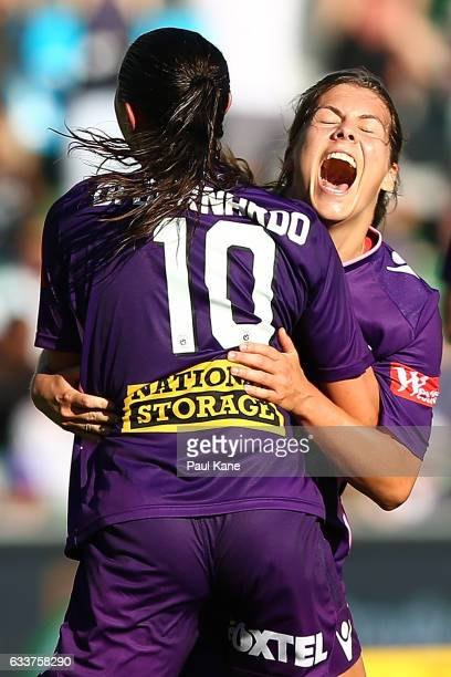 Shawn Billam and Vanessa DiBernardo of the Glory celebrate a goal during the WLeague Semi Final match between the Perth Glory and Sydney FC at nib...