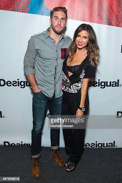 Shawn Booth and Kaitlyn Bristowe attend the Desigual fashion show during Spring 2016 New York Fashion Week at The Arc Skylight at Moynihan Station on...