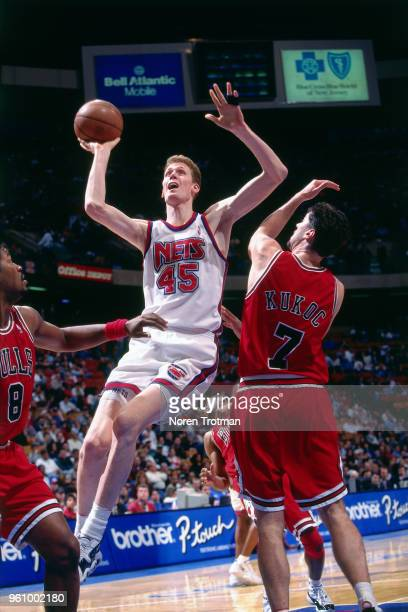 Shawn Bradley of the New Jersey Nets shoots the ball against the Chicago Bulls on April 11 1996 at Brendan Byrne Arena in East Rutherford New Jersey...